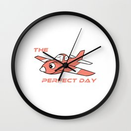 "Cute and adorable pink airplane for toy ""Perfect day"". Grab this now and give the nicest gift! Wall Clock"