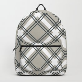 Greyscale Criss-Cross Simple Plaid Pattern Backpack