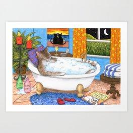 Cat in bath Art Print