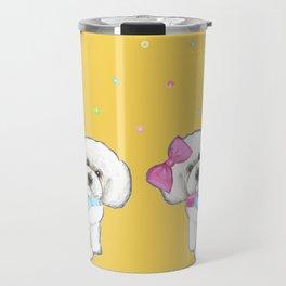 Bichon Frise Holidays yellow cute dogs, Christmas gift, holiday gift, birthday gift, dog, Bijon Travel Mug