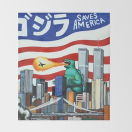 Godzilla saves America Throw Blanket