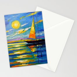 Sailboat at sunset Stationery Cards