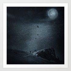 edge of always - dark blue Art Print