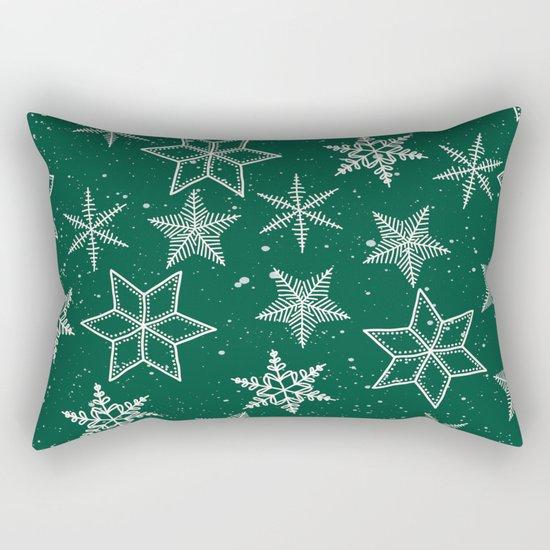 Snowflakes On Green Background Rectangular Pillow