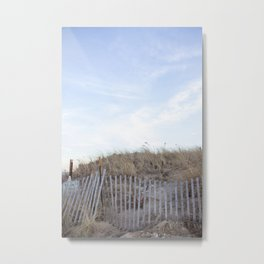 Wooden Fence at the Beach Metal Print