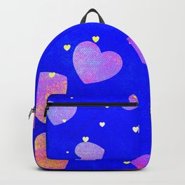 Floating Glitter Fairytale Hearts in Storybook Blue Sky Backpack