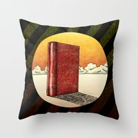 literature Throw Pillows featuring Literature Heavy book by gunberk