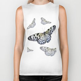 DESIGN OF FLUTTERING BLACK & WHITE BUTTERFLIES  ART Biker Tank