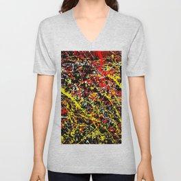 Vectorized Ink splashes Jackson Pollock style. Unisex V-Neck