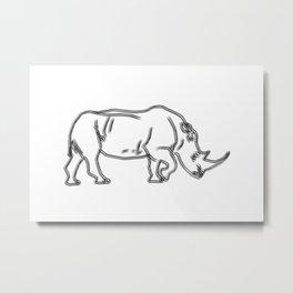 Minimalist Rhino drawing Metal Print