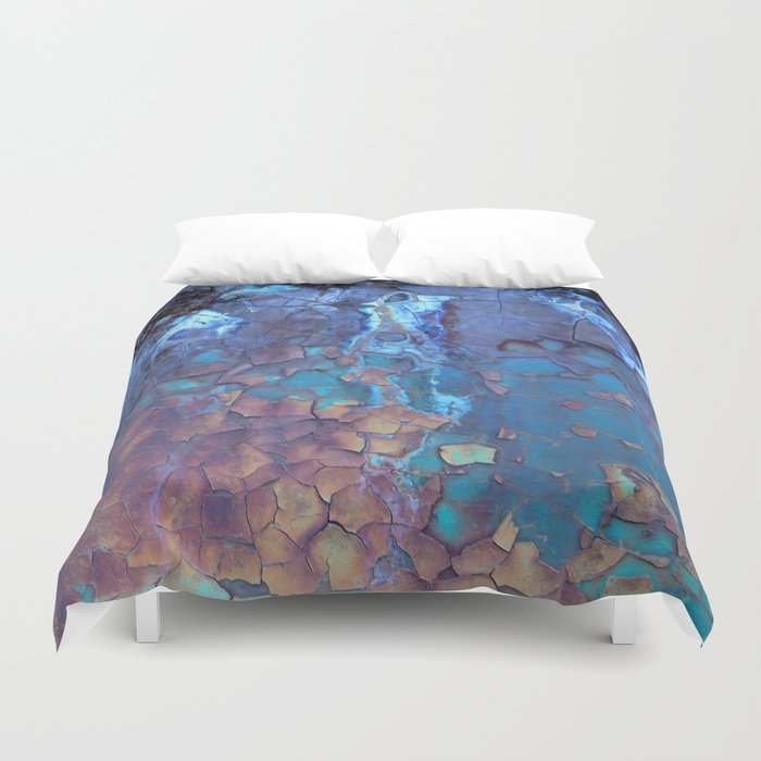 Waterfall. Rustic & crumby paint. Duvet Cover