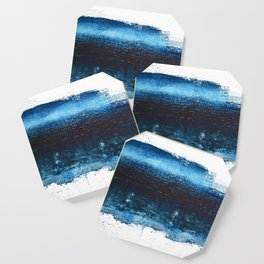 Lake Michigan: a pretty, minimal abstract piece in icy blues by Alyssa Hamilton Art Coaster