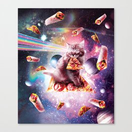 Outer Space Pizza Cat - Rainbow Laser, Taco, Burrito Canvas Print