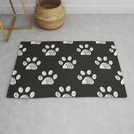 Doodle white paw print seamless fabric design repeated pattern Rug