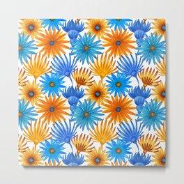 Hand painted orange sky blue watercolor floral Metal Print