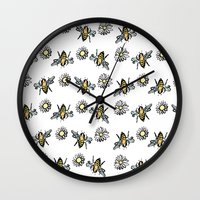 bees Wall Clocks featuring Bees by rapunzette