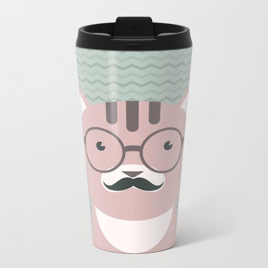 Clever Cat cute pet hippster moustache character Metal Travel Mug