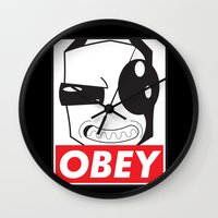invader zim Wall Clocks featuring Obey Zim by Omitted