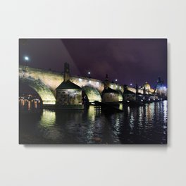 Prague's Charles Bridge at Night Metal Print