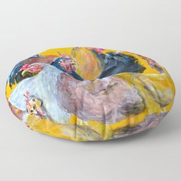 Chickens of Many Colors Floor Pillow
