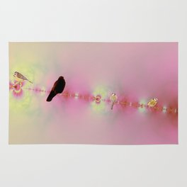 Birds on a wire pink Rug