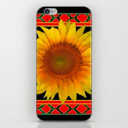 RED-TEAL BLACK  DECO YELLOW SUNFLOWERS iPhone Skin