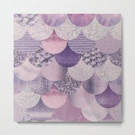 Pale Pink Pastel Glamour Fish Skin Scale Pattern Metal Print