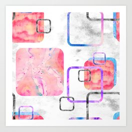 Watercolor Geometric Print Pattern Pink Contemporary Squares Art Print