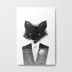 minima - dapper fox | noir Metal Print