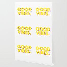 Good Vibes Bright Yellow Pink Wallpaper
