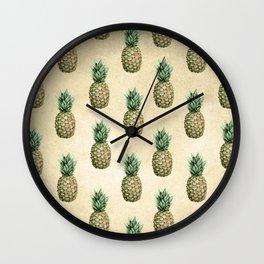 Vintage Pineapple Pattern Linen Wall Clock