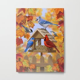 Autumn Bird Feeder Gathering Metal Print