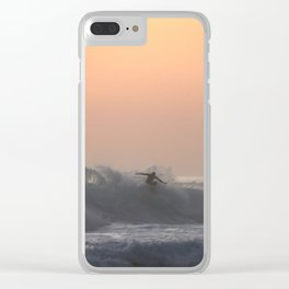 Lone Surfer Clear iPhone Case