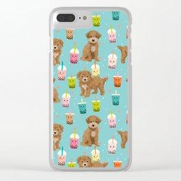 Bishpoo bubble tea kawaii food dog breed pet friendly pet portrait patterns Clear iPhone Case