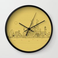 barcelona Wall Clocks featuring Barcelona by Lele Gastini