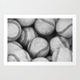 Baseballs Black & White Graphic Illustration Design Art Print