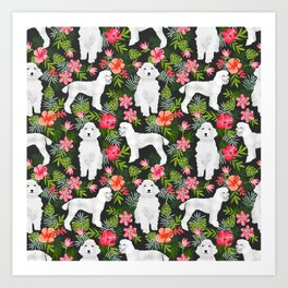 White Poodle floral hawaiian tropical dog breed dogs pet friendly pet art pattern Art Print