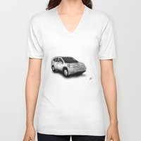 honda V-neck T-shirts featuring Honda CR-V by Jens Buch Designs