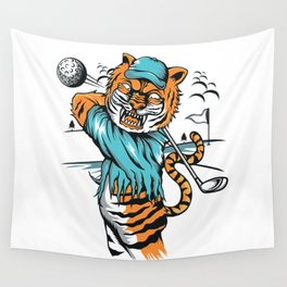 Tiger golfer WITH cap Wall Tapestry
