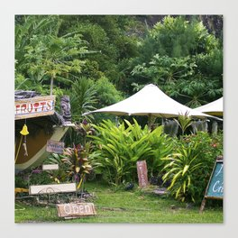 Fruit Stand in Tropical French Polynesia Canvas Print