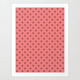Black on Coral Pink Snowflakes Art Print