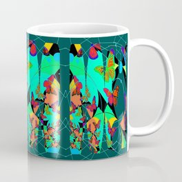 Butterfly Dream Catchers Teal Abstract Coffee Mug