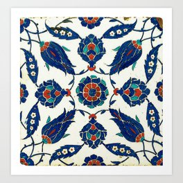 An Iznik polychrome tile, Turkey, circa 1575, by Adam Asar, No 24a Art Print