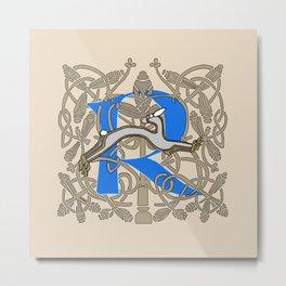Celt Rabbit Letter R Blue Metal Print