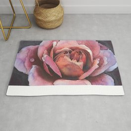 Bold Pink Rose Flower At Midnight With Love Rug