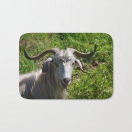 Portrait of A Horned Goat Grazing Bath Mat