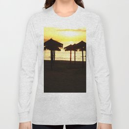 Malaga beach sunset Long Sleeve T-shirt