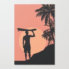 Sunset Beach Surfer Canvas Print