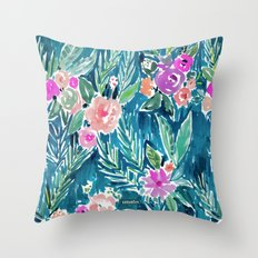NAVY PARADISE FLORAL Tropical Hibiscus Palm Pattern Throw Pillow