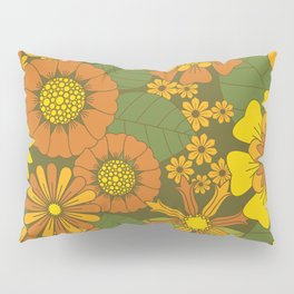 Orange, Brown, Yellow and Green Retro Daisy Pattern Pillow Sham